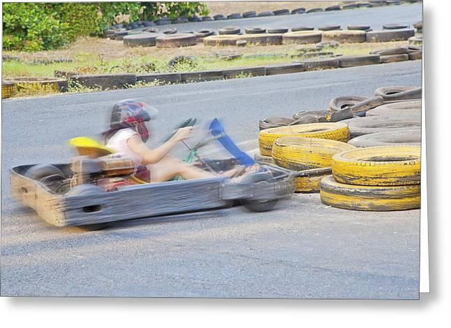 Go Cart Greeting Cards - Boing oops dare I say lady drivers Greeting Card by Kantilal Patel