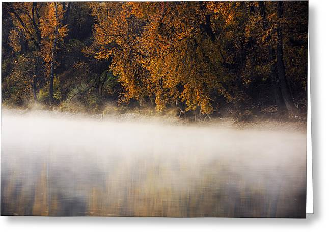 Reflections Of Trees In River Photographs Greeting Cards - Boise River autumn foggy morning Greeting Card by Vishwanath Bhat