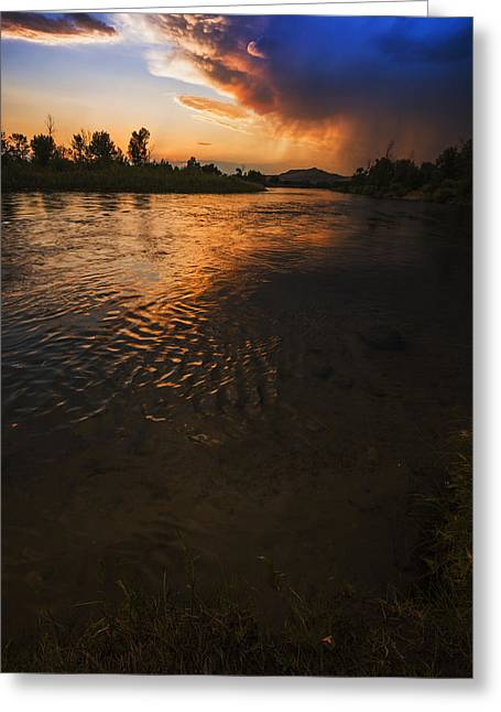 Reflections Of Trees In River Greeting Cards - Boise River Dramatic Sunset Greeting Card by Vishwanath Bhat