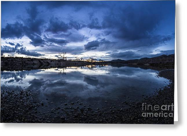 Recently Sold -  - Reflection In Water Greeting Cards - Boise River just after sunset Greeting Card by Vishwanath Bhat