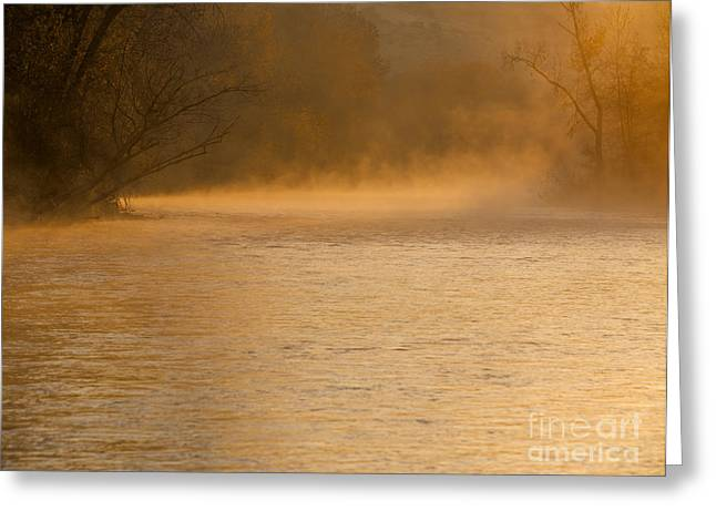 Fog Rising Greeting Cards - Boise River sunrise Greeting Card by Vishwanath Bhat