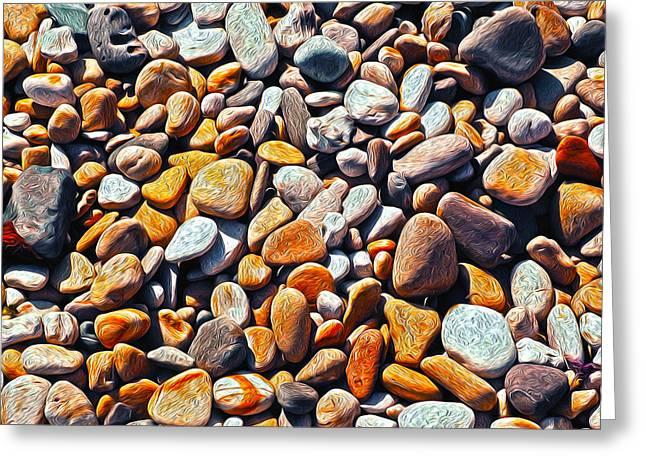 Blue Labradorite Greeting Cards - Boisterous Beach Stones Greeting Card by Joe Schofield