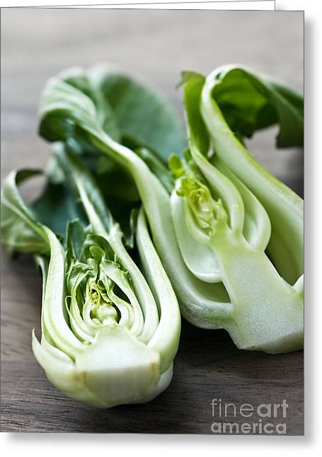 Halved Greeting Cards - Bok choy Greeting Card by Elena Elisseeva