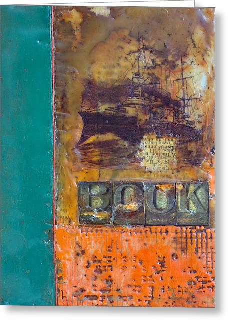 Book Cover Encaustic Greeting Card by Bellesouth Studio