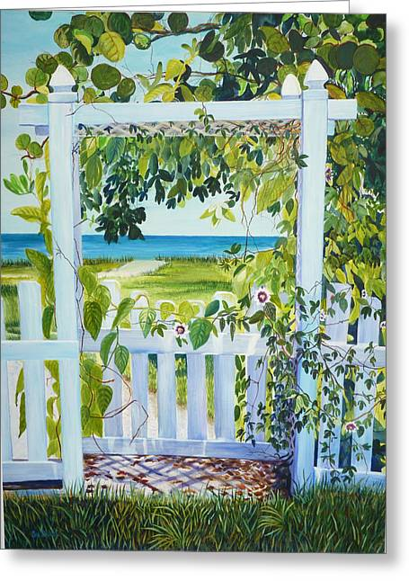 Ft. Meyers Beach Greeting Cards - Bokeelia Behind the White Picket Fence Greeting Card by Susan Duda