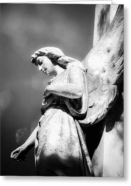 Religious Art Photographs Greeting Cards - Bokeh Angel in Infrared Greeting Card by Sonja Quintero