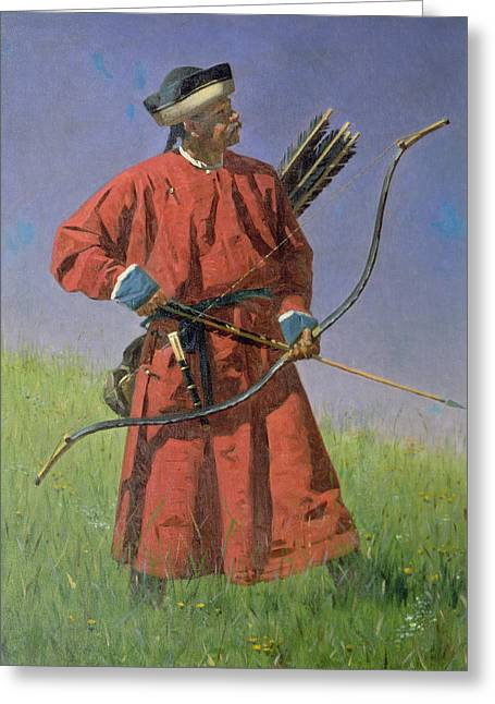 Central Asia Greeting Cards - Bokharan Soldier Sarbaz, 1873 Oil On Canvas Greeting Card by Vasili Vasilievich Vereshchagin
