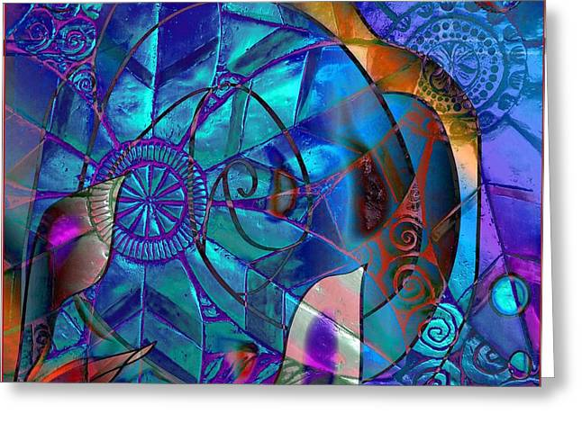 Blue Abstracts Jewelry Greeting Cards - Bold 2 Greeting Card by Iris Gelbart