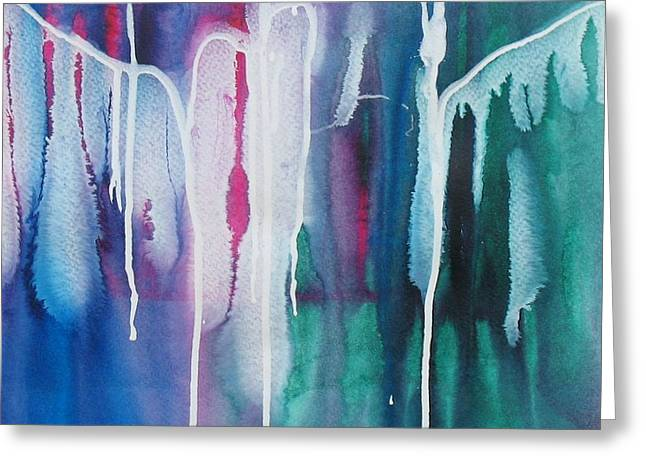 Drippy Paintings Greeting Cards - Bold and Drippy Two Greeting Card by Louise Adams