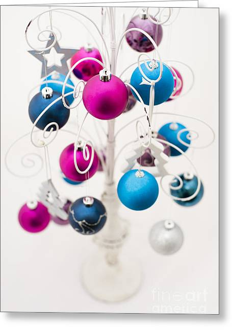 Coloured Greeting Cards - Bold Baubles Greeting Card by Anne Gilbert