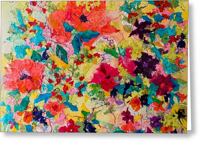Kat Mixed Media Greeting Cards - Bold Bed of Color Collage Greeting Card by Kat Ebert