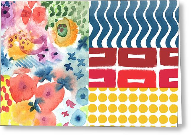 Chic Mixed Media Greeting Cards - Bold Boho Patchwork- abstract art Greeting Card by Linda Woods