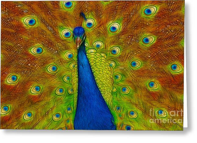 Ego Greeting Cards - Bold Bright Peacock Greeting Card by Darleen Stry