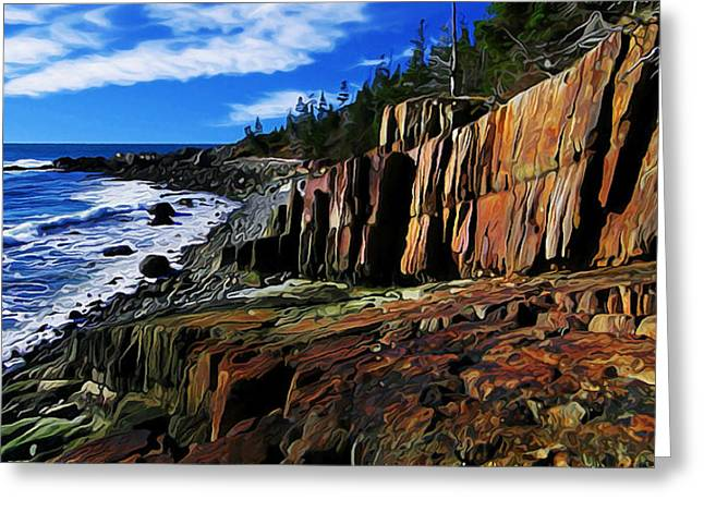 Panoramic Ocean Digital Greeting Cards - Bold Coast 32 Greeting Card by Bill Caldwell -        ABeautifulSky Photography