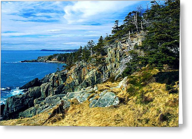 Ledge Greeting Cards - Bold Coast in Fall Greeting Card by Bill Caldwell -        ABeautifulSky Photography