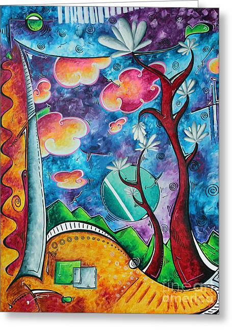 Unique Art Greeting Cards - Bold Colorful Whimsical Original PoP Art Painting Landscape Art by Megan Duncanson Greeting Card by Megan Duncanson