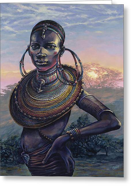 African Woman Greeting Cards - Bold Greeting Card by Dennis Goff