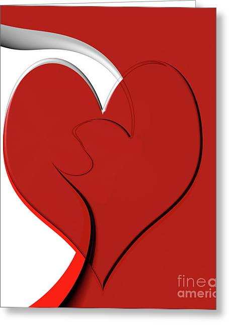 Linda Matlow Greeting Cards - Bold red abstract heart on red and white design 2 Greeting Card by Linda Matlow