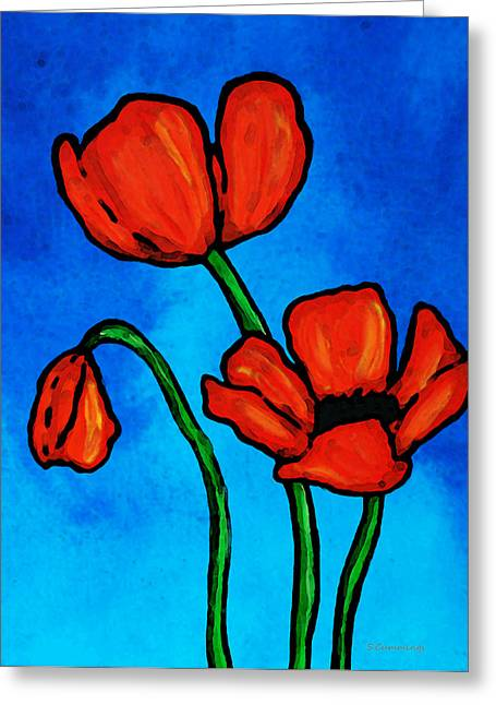 Red And Blue Greeting Cards - Bold Red Poppies - Colorful Flowers Art Greeting Card by Sharon Cummings