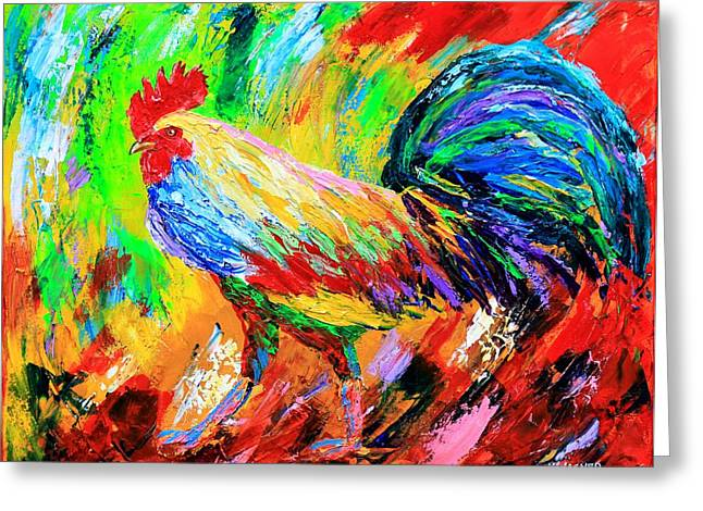 Bright Color Rooster Greeting Cards - Bold Rooster Greeting Card by Karl Wagner