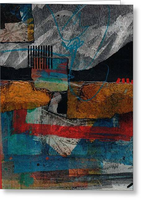 Abstract Collage Greeting Cards - Bold Start Greeting Card by Laura  Lein-Svencner