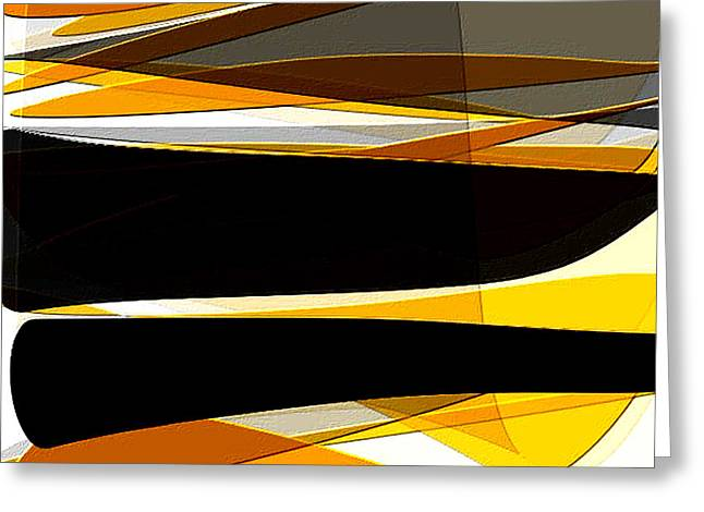 Bold- Yellow Orange Black And Gray Art Greeting Card by Lourry Legarde