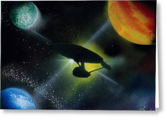 Outer Space Paintings Greeting Cards - Boldly Go Greeting Card by Thomas DOrsi