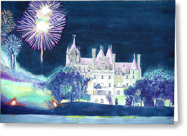 4th July Greeting Cards - Boldt Castle Fireworks Greeting Card by Robert P Hedden