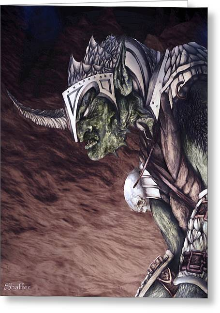 Hobgoblin Greeting Cards - Bolg The Goblin King 2 Greeting Card by Curtiss Shaffer
