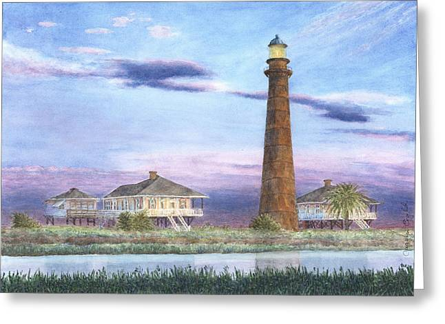 Galveston Paintings Greeting Cards - Bolivar Light Greeting Card by Carolyn English