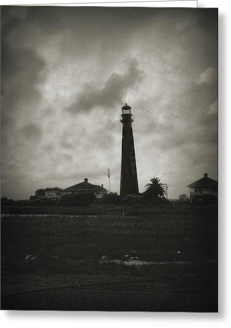 Galveston Digital Art Greeting Cards - Bolivar Lighthouse Greeting Card by Linda Unger