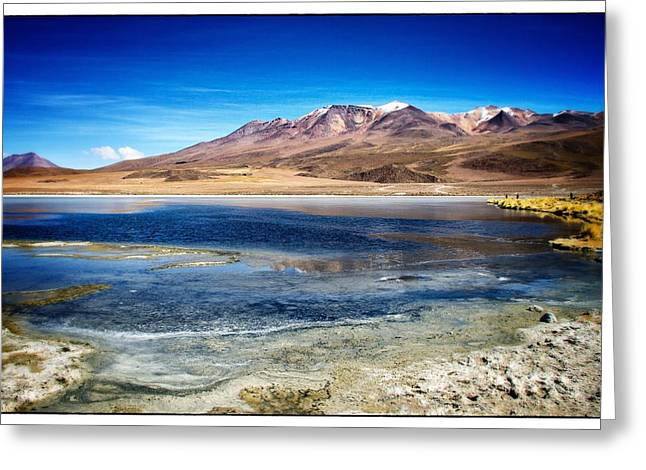 Bolivia Blog Greeting Cards - Bolivia Desert Lake Framed Greeting Card by For Ninety One Days