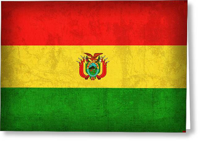 South America Mixed Media Greeting Cards - Bolivia Flag Vintage Distressed Finish Greeting Card by Design Turnpike