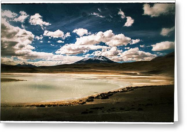 Bolivia Blog Greeting Cards - Bolivia Lagoon Clouds Vintage Greeting Card by For Ninety One Days