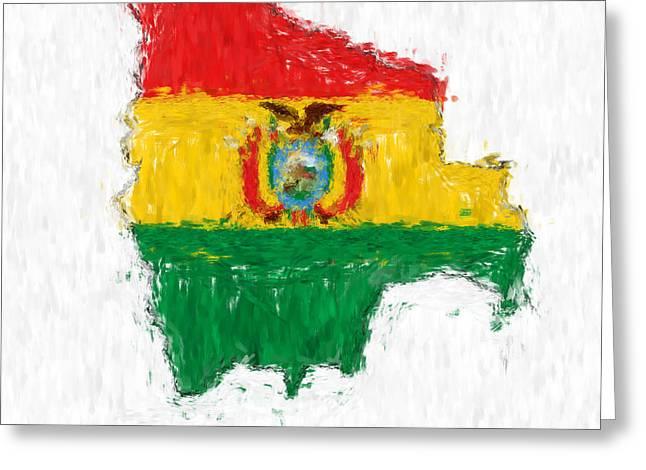 Dap Greeting Cards - Bolivia Painted Flag Map Greeting Card by Antony McAulay