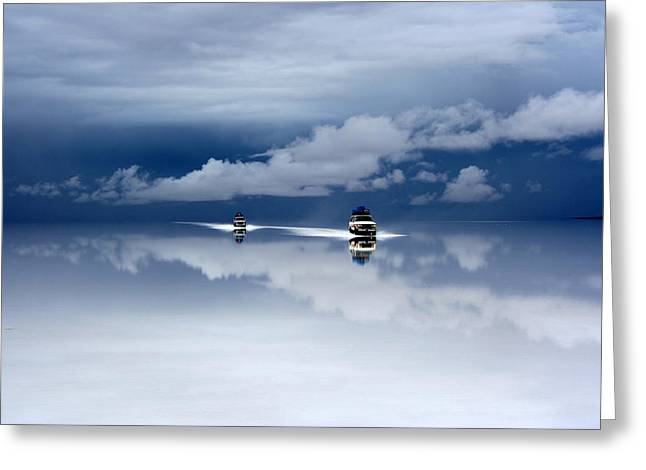 Cars Photographs Greeting Cards - Bolivia Salt Desert After The Rain Greeting Card by Guy Nesher