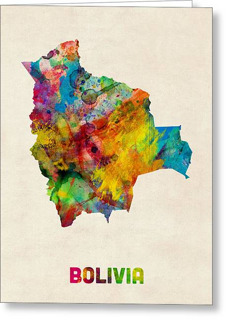 Bolivia Greeting Cards - Bolivia Watercolor Map Greeting Card by Michael Tompsett