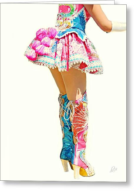 Short Skirt Greeting Cards - Bolivian Dancer Greeting Card by Diana Angstadt