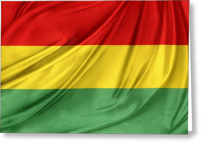 Waving Flag Greeting Cards - Bolivian flag Greeting Card by Les Cunliffe