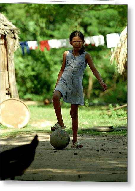 Girls Soccer Art Greeting Cards - Bolivian Girl Futbol Greeting Card by J Brett Whitesell