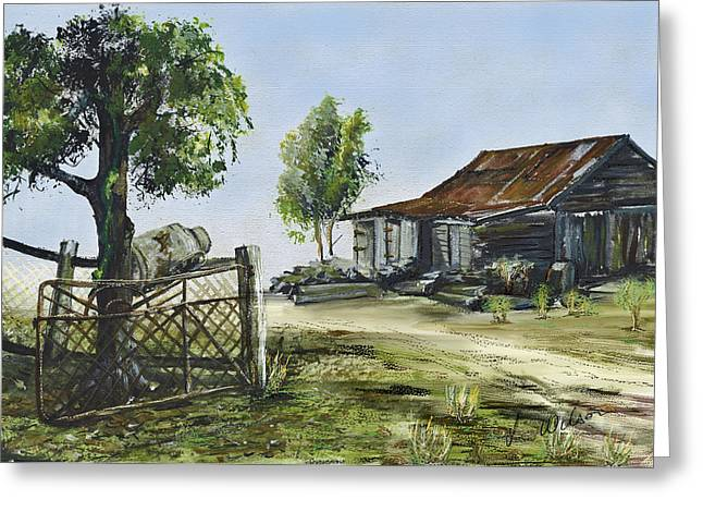 Bollier Shed And Gate Greeting Card by Lynne Wilson