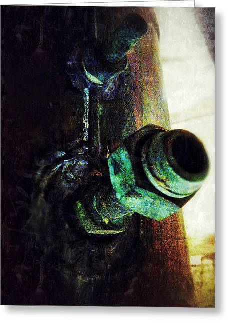 Copper Patina Greeting Cards - Bolted Greeting Card by Olivier Calas
