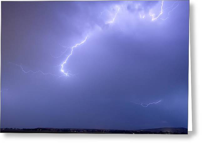 Storm Prints Photographs Greeting Cards - Bolts of Lightning Arcing Through the Night Sky Greeting Card by James BO  Insogna