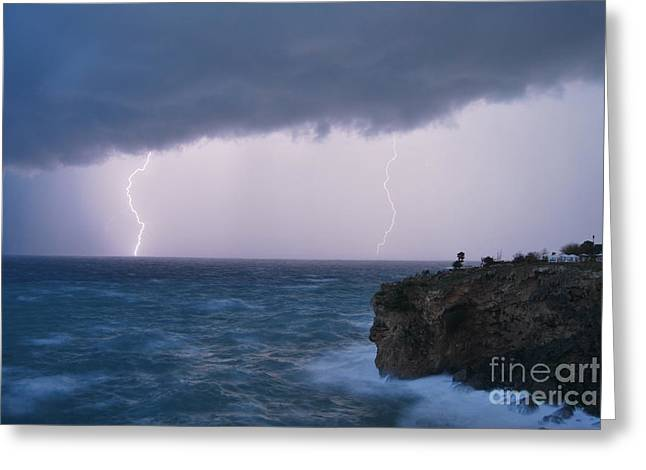 Cliffs Over Ocean Greeting Cards - Bolts on the Water Greeting Card by Erhan OZBIYIK