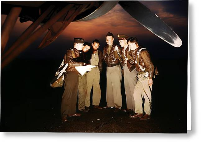 Aircrew Greeting Cards - Bomb Crew Final Instructions 1942 Greeting Card by Mountain Dreams