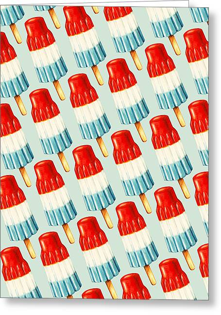 Blue Drip Greeting Cards - Bomb Pop Pattern Greeting Card by Kelly Gilleran
