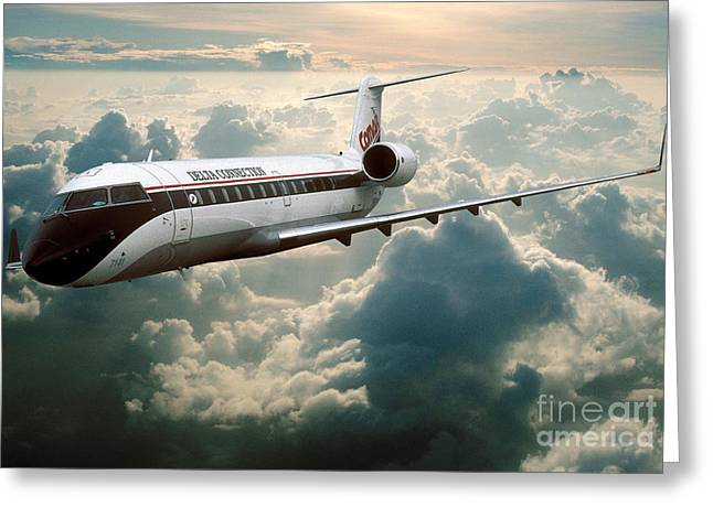 Best Sellers -  - Fixed Wing Multi Engine Greeting Cards - Bombardier-Canadair Regional Jet CRJ Greeting Card by Wernher Krutein