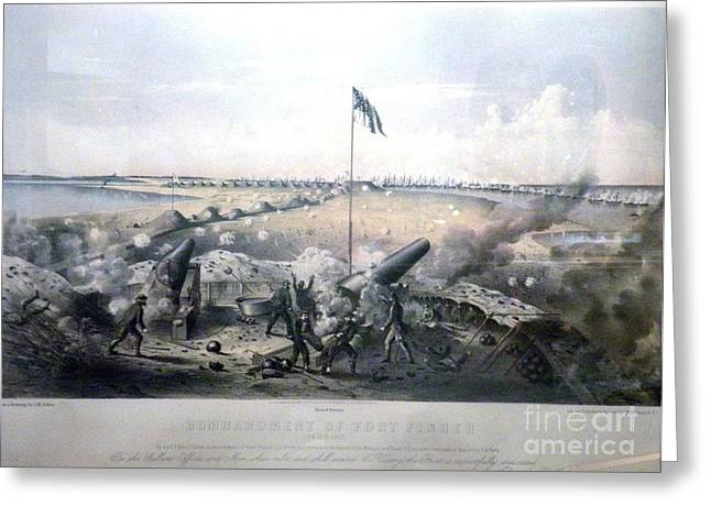 The General Lee Paintings Greeting Cards - Bombardment of Fort Fisher Greeting Card by James Madison Alden