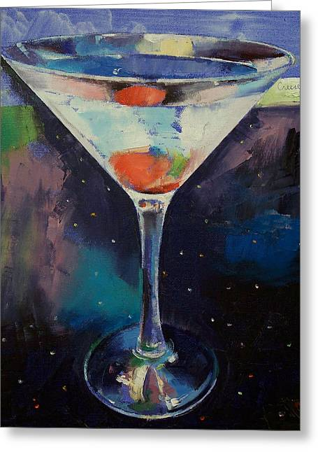 Bombay Sapphire Martini Greeting Card by Michael Creese