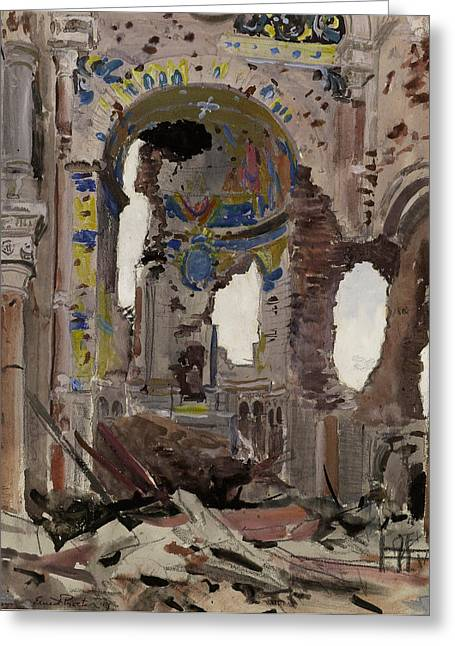 Wwi Paintings Greeting Cards - Bombed Out Interior of Albert Church Greeting Card by Ernest Proctor